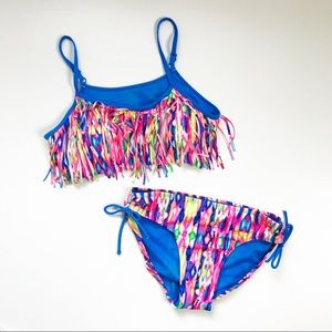 Justice Bright Tie Dye Fringe Tassel Swim Bikini
